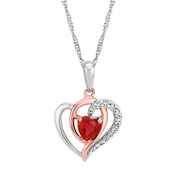 Heart-Shaped Ruby and Diamond 14k Rose and White Gold Heart Pendant (22 in)