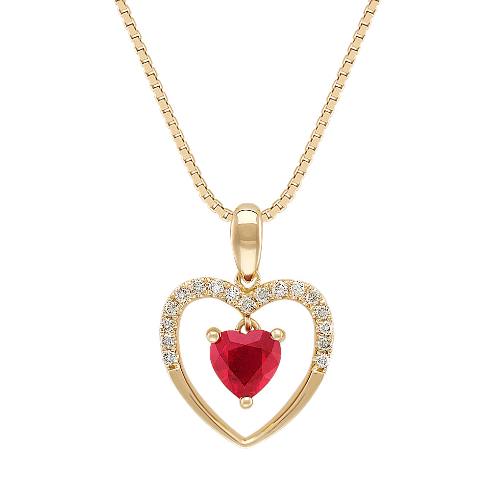 Heart-Shaped Ruby and Diamond Heart Pendant in 14k Yellow Gold (18 ...