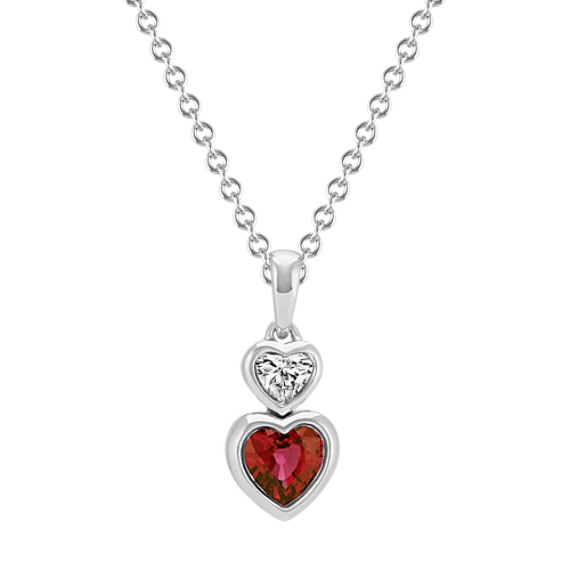 Heart-Shaped Ruby and Diamond Pendant (22 in)