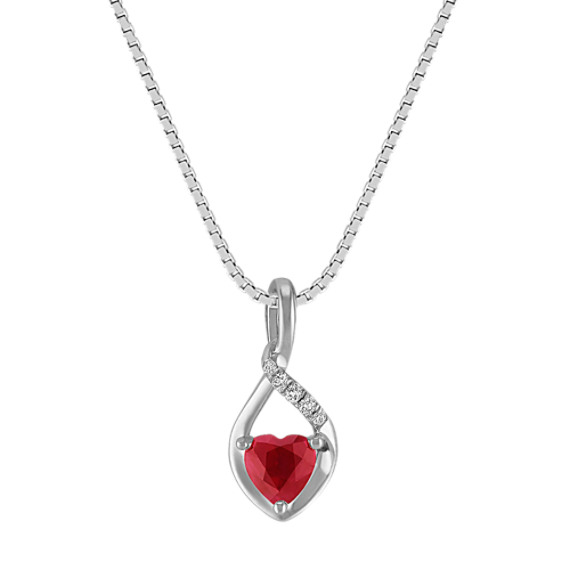 Heart-Shaped Ruby and Diamond Pendant in Sterling Silver (18 in)