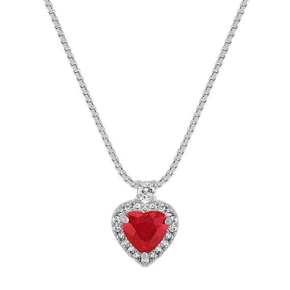 Heart-Shaped Ruby and Round Diamond Heart Pendant (18 in)