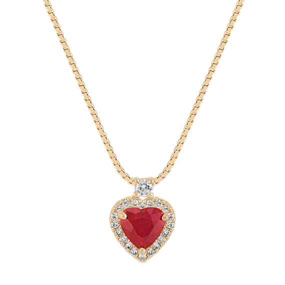 Heart-Shaped Ruby and Round Diamond Pendant (18 in)