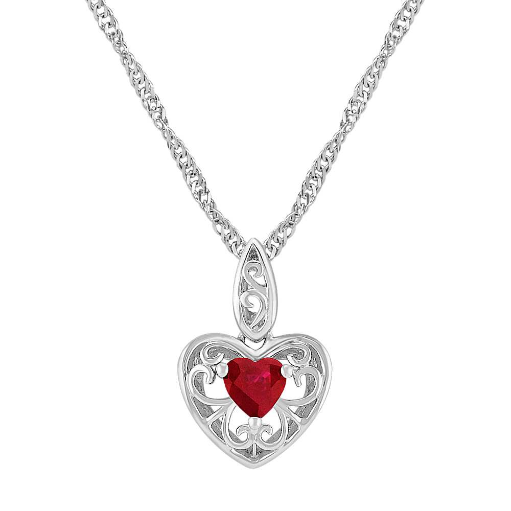 Heart shaped ruby and sterling silver pendant 18 in shane co heart shaped ruby and sterling silver pendant 18 in aloadofball Choice Image