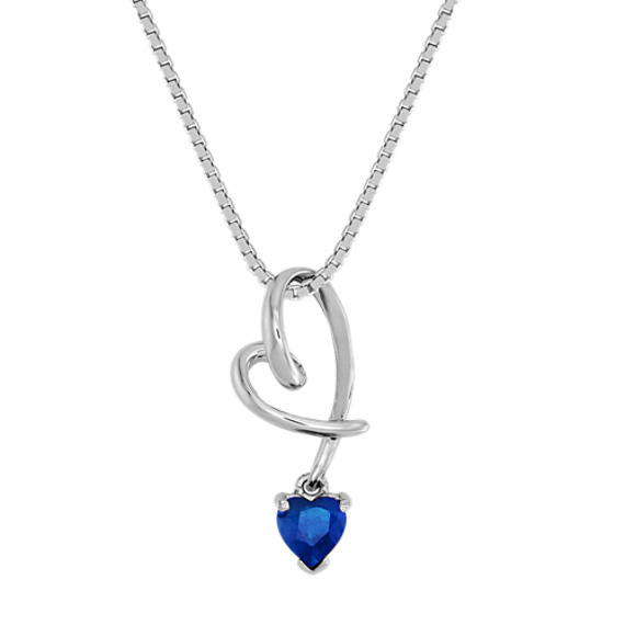 Heart-Shaped Sapphire Heart Pendant (18 in)