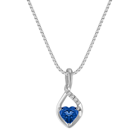 Heart-Shaped Sapphire Pendant in Sterling Silver (18 in)