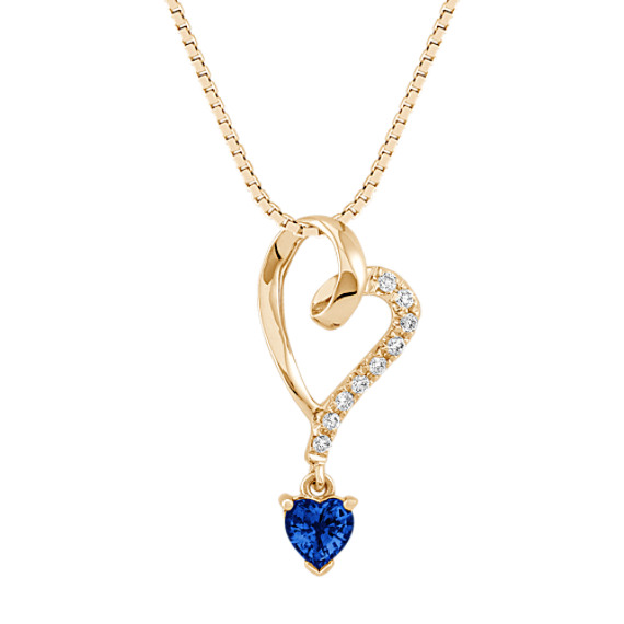 Heart-Shaped Sapphire and Diamond Heart Pendant (18 in)