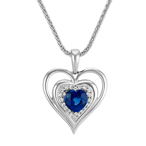 Heart-Shaped Traditional Sapphire and Round Diamond Heart Pendant (22 in)