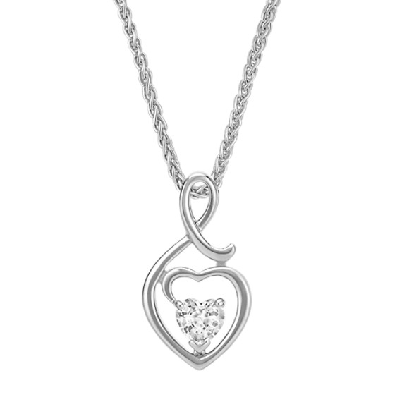 Heart Shaped White Sapphire and Sterling Silver Heart Pendant (18 in)