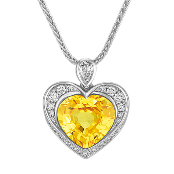 Heart Shaped Yellow Sapphire, Pear Shaped and Round Diamond Pendant (18 in)
