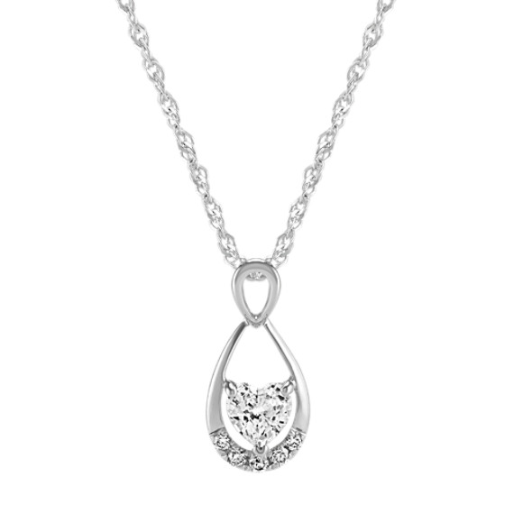 Heart-Shaped & Round White Sapphire Pendant (20 in.)