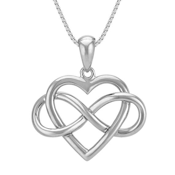 Heart and Infinity Sterling Silver Pendant (20 in)