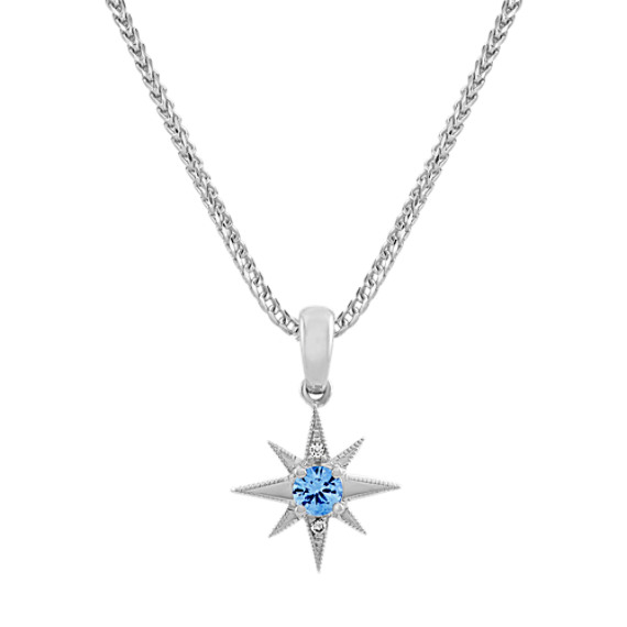 Ice Blue and White Sapphire Star Pendant (22 in)