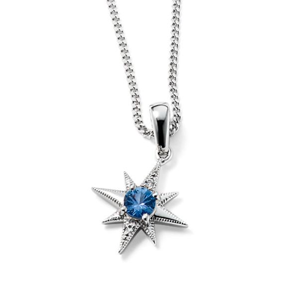 Starlight Ice Blue Sapphire Pendant (22 in)