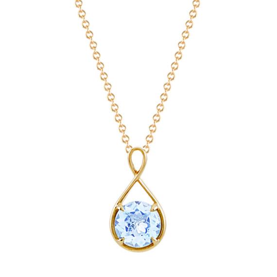 Infinity Aquamarine Pendant (24 in)