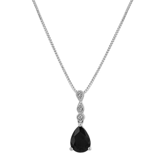 Infinity Black and White Sapphire Pendant (22 in)