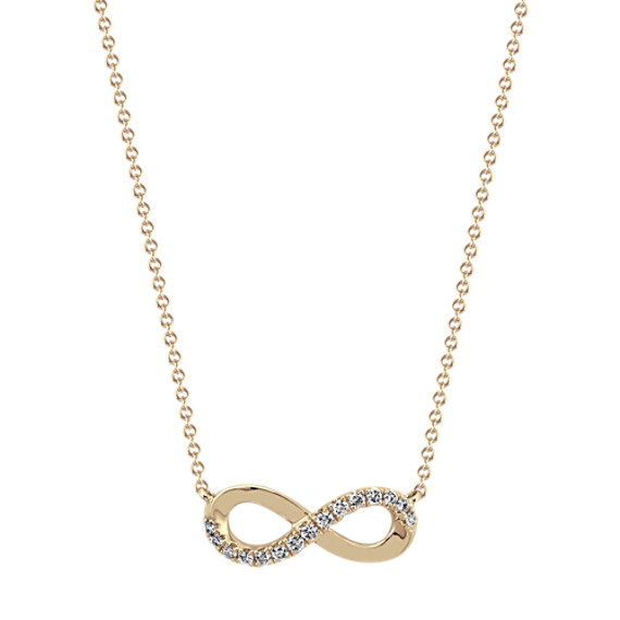 Infinity Diamond Necklace in 14k Yellow Gold (18 in)