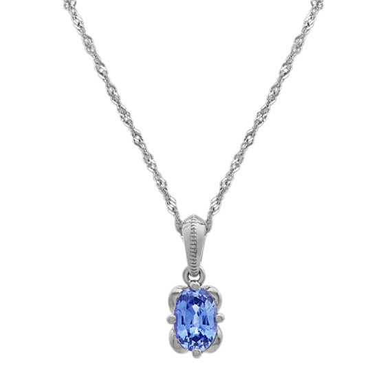 Kentucky Blue Sapphire Pendant in 14k White Gold (20 in)