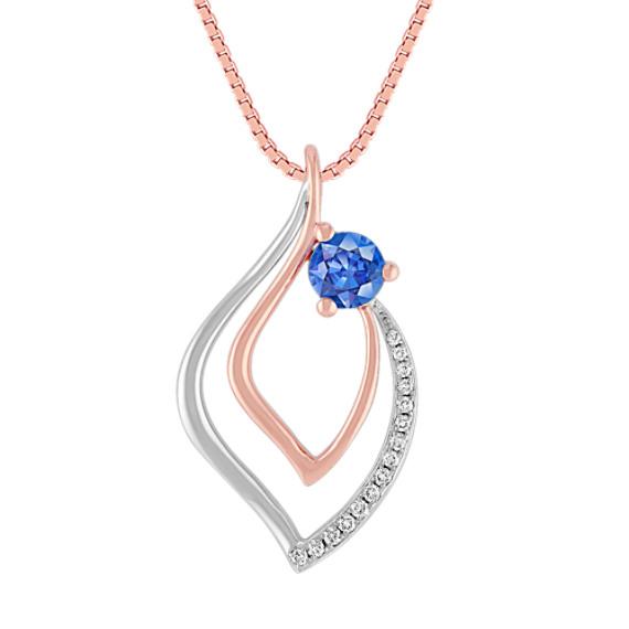 Kentucky Blue Sapphire and Diamond Pendant in Two-Tone Gold (18 in)