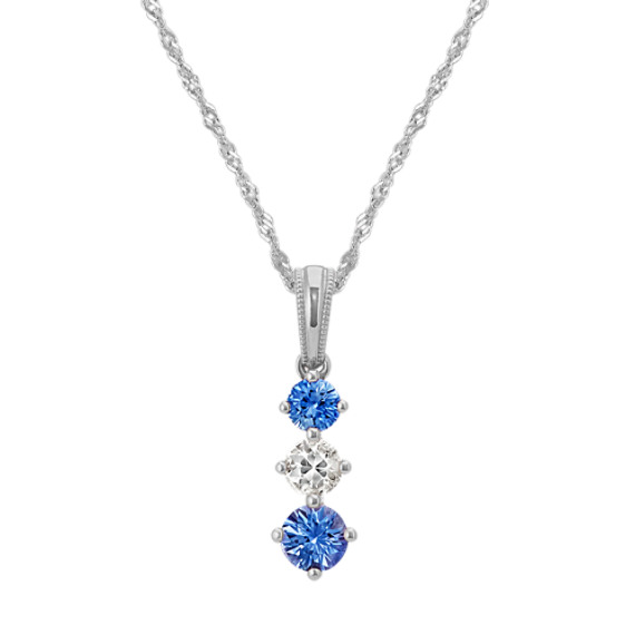 Kentucky Blue and White Sapphire Pendant (20 in)