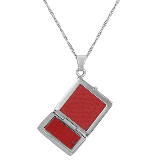 Kite-Shaped Square Locket with Floral Engraving in Sterling Silver (20 in) image