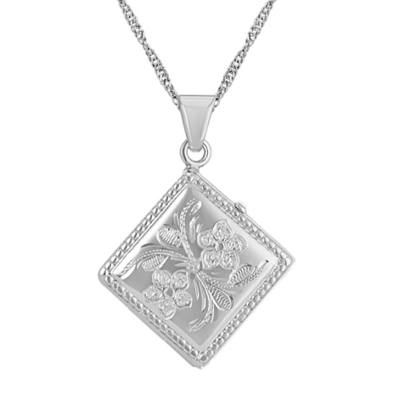 Kite-Shaped Square Locket with Floral Engraving in Sterling Silver (20 in)