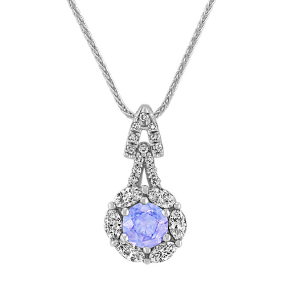 Lavender Round Sapphire, Marquise and Round Diamond Pendant (22 in)
