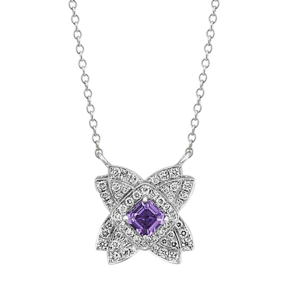 Lavender Sapphire and Diamond Necklace (18 in)