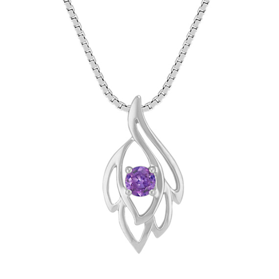 Lavender Sapphire and Sterling Silver Pendant (18 in)