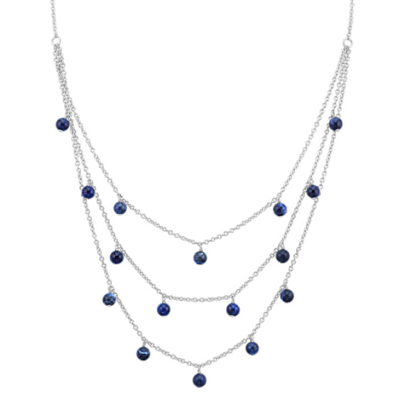 Layered Blue Sodalite Bead Necklace in Sterling Silver (20 in)