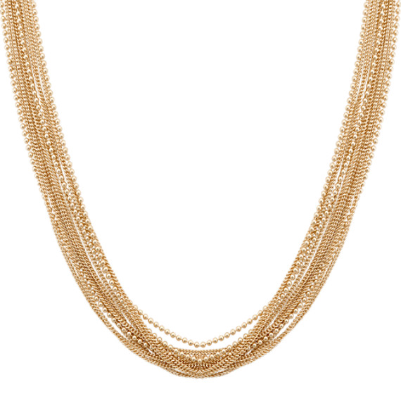 Layered Chain Necklace in Yellow Sterling Silver (18 in)
