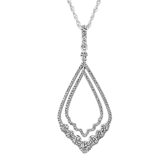 Layered Drop Diamond Pendant in 14k White Gold