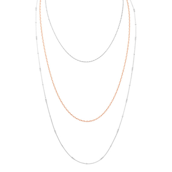 Layered Necklace in Rose and Sterling Silver (30 in)