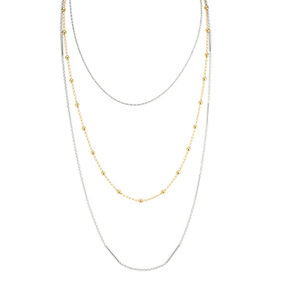 Layered Necklace in Yellow and Sterling Silver (30 in)