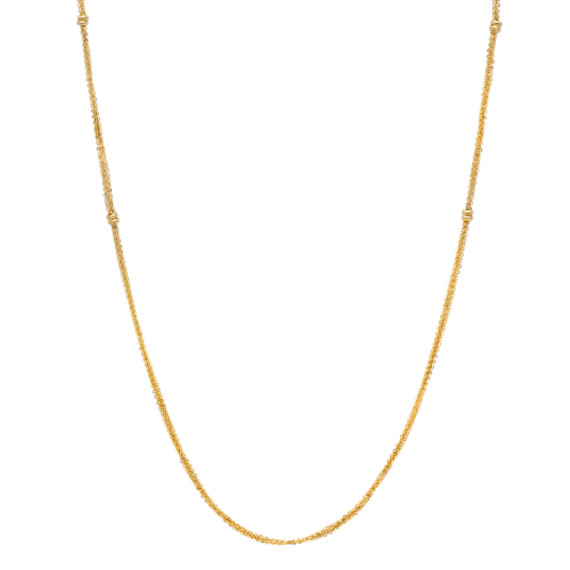 Layered Necklace with Stations in 14k Yellow Gold (30 in)