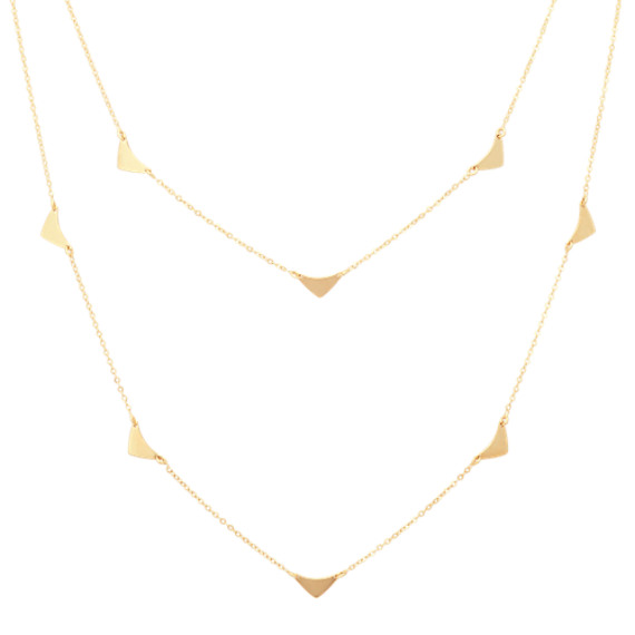 Layered Triangle Necklace in 14k Yellow Gold (18 in)
