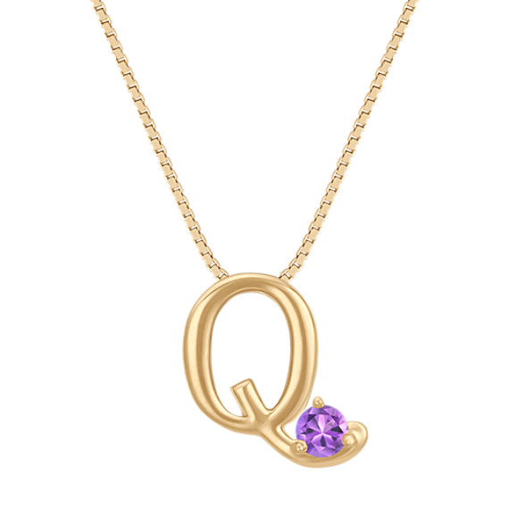 Letter Q Pendant in 14k Yellow Gold (18 in) image