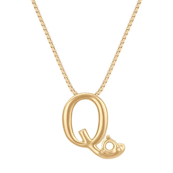 Letter Q Pendant in 14k Yellow Gold (18 in)