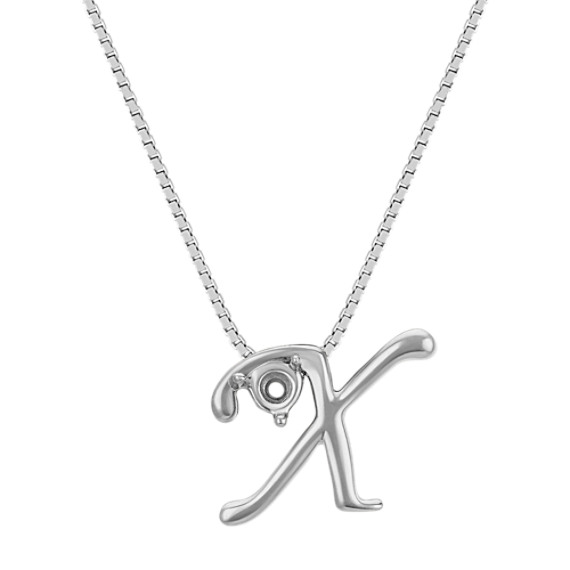 Letter X Pendant in 14k White Gold (18 in)