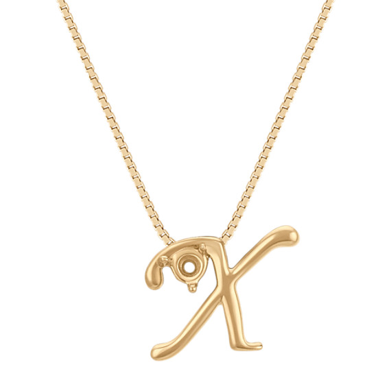 Letter X Pendant in 14k Yellow Gold (18 in)