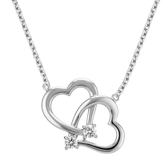 Linking Hearts Necklace with Round Diamond Accents (18 in)