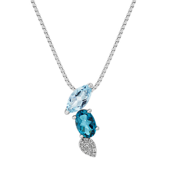 London Blue Topaz, Aquamarine and Diamond Pendant (20 in.)