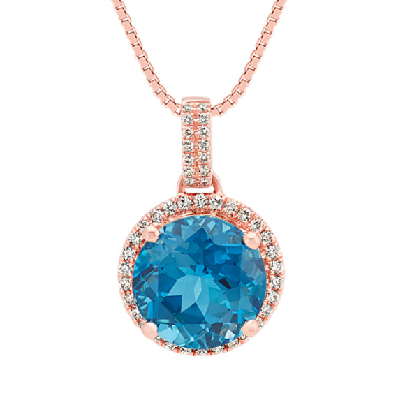 London Blue Topaz Pendant in Rose Gold (18 in)