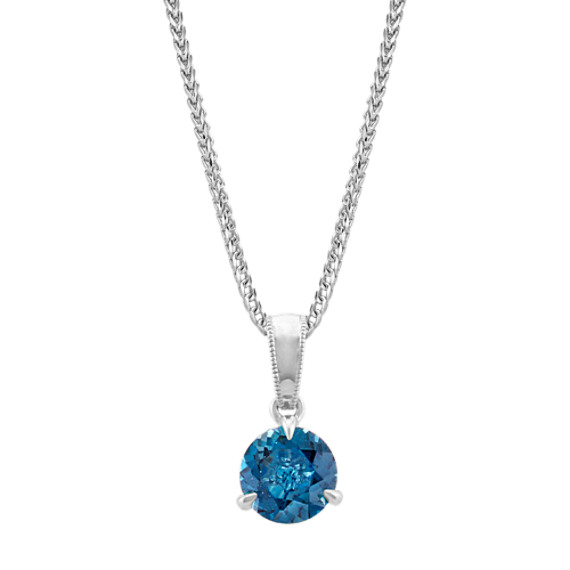 London Blue Topaz Solitaire Pendant in Sterling Silver (22 in)