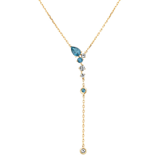 London Blue Topaz and Aquamarine Y Necklace (18 in)