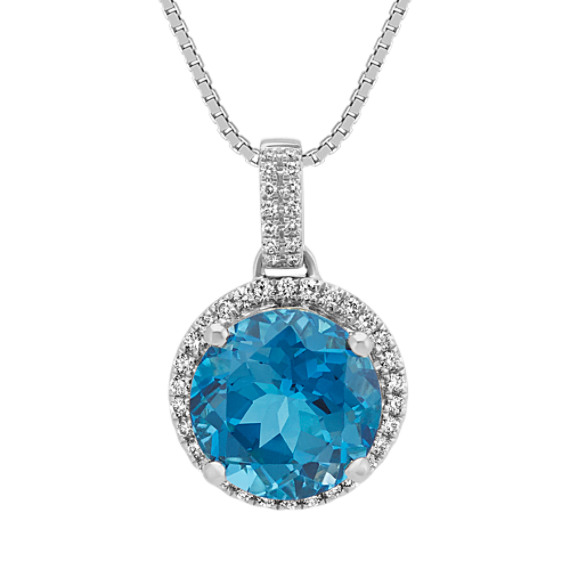 London Blue Topaz and Diamond Pendant (18 in)
