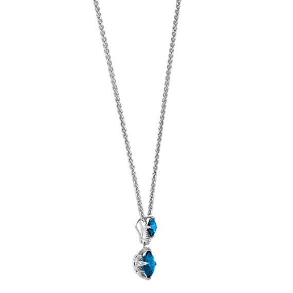 London Blue Topaz and Diamond Pendant (20 in.) image