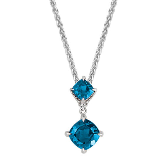 London Blue Topaz and Diamond Pendant (20 in)