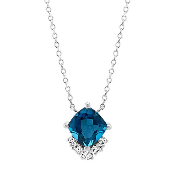 London Blue Topaz & White Sapphire Necklace (18 in)