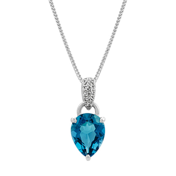 London Blue Topaz and White Sapphire Pendant (22 in)