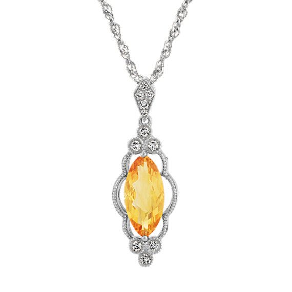 Marquise Citrine and Diamond Pendant (20 in)